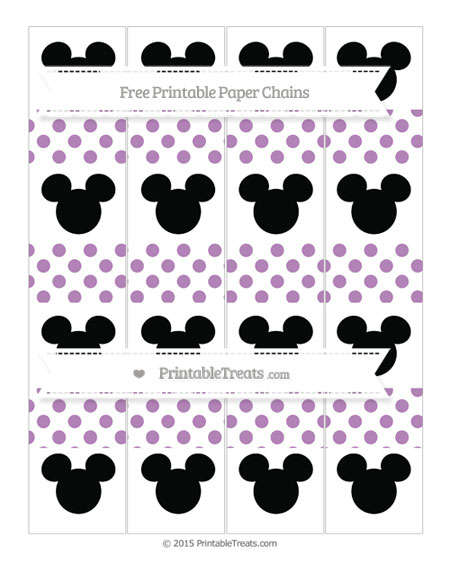 Free Pastel Light Plum Dotted Pattern Mickey Mouse Paper Chains