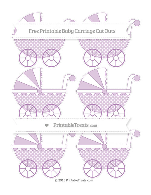 Free Pastel Light Plum Dotted Pattern Small Baby Carriage Cut Outs
