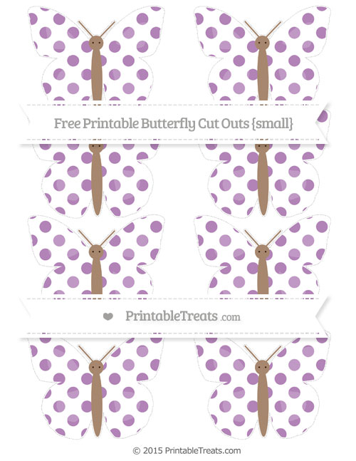 Free Pastel Light Plum Dotted Pattern Small Butterfly Cut Outs