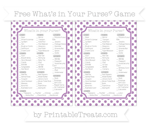 Free Pastel Light Plum Dotted Pattern What's in Your Purse Baby Shower Game