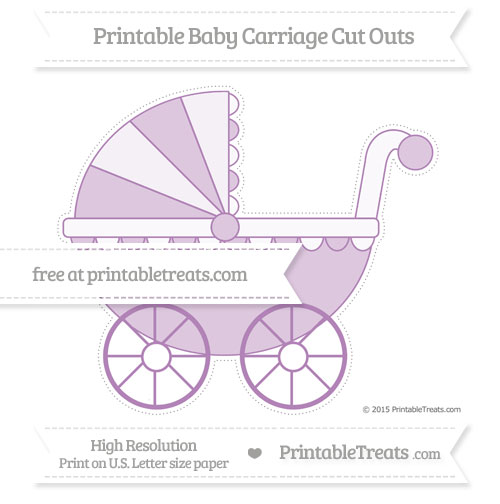 Free Pastel Light Plum Extra Large Baby Carriage Cut Outs