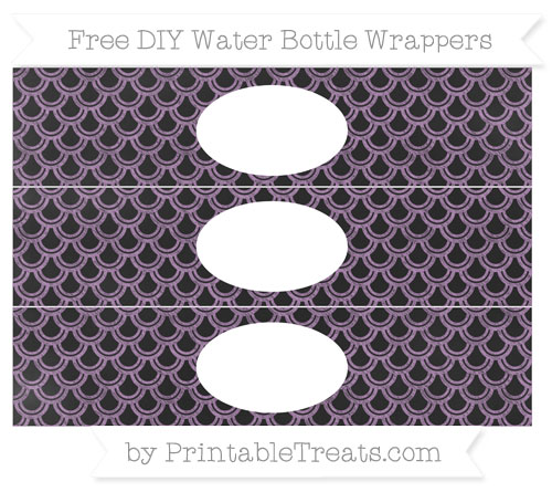 Free Pastel Light Plum Fish Scale Pattern Chalk Style DIY Water Bottle Wrappers