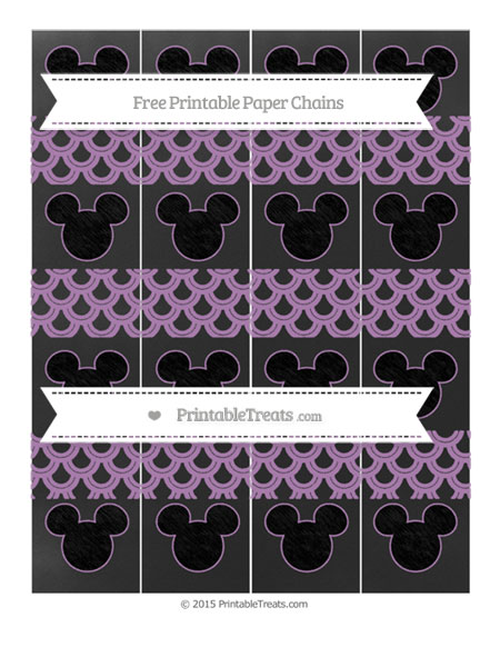 Free Pastel Light Plum Fish Scale Pattern Chalk Style Mickey Mouse Paper Chains
