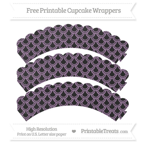 Free Pastel Light Plum Fish Scale Pattern Chalk Style Scalloped Cupcake Wrappers