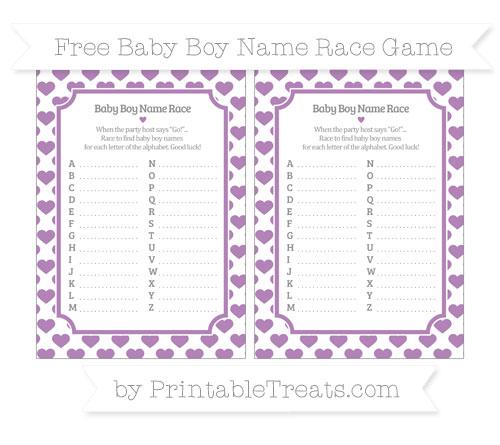 Free Pastel Light Plum Heart Pattern Baby Boy Name Race Game