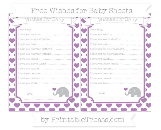 Free Pastel Light Plum Heart Pattern Baby Elephant Wishes for Baby Sheets
