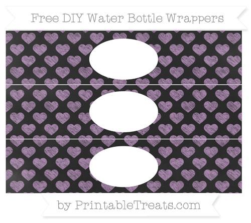 Free Pastel Light Plum Heart Pattern Chalk Style DIY Water Bottle Wrappers