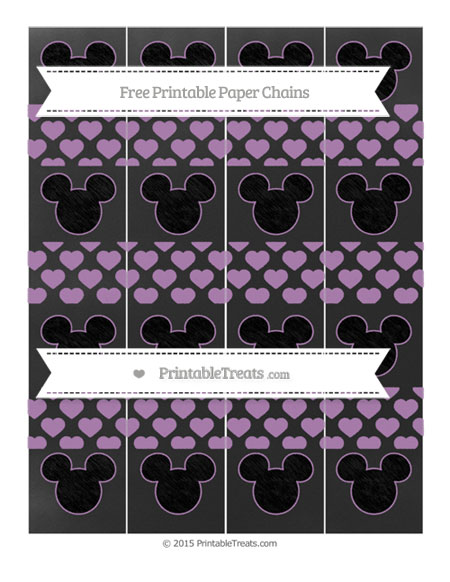Free Pastel Light Plum Heart Pattern Chalk Style Mickey Mouse Paper Chains