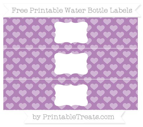 Free Pastel Light Plum Heart Pattern Water Bottle Labels
