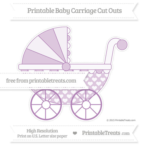 Free Pastel Light Plum Heart Pattern Extra Large Baby Carriage Cut Outs