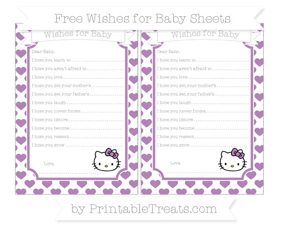 Free Pastel Light Plum Heart Pattern Hello Kitty Wishes for Baby Sheets