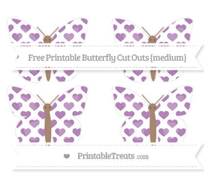 Free Pastel Light Plum Heart Pattern Medium Butterfly Cut Outs