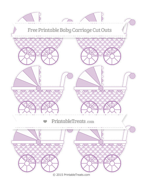 Free Pastel Light Plum Heart Pattern Small Baby Carriage Cut Outs