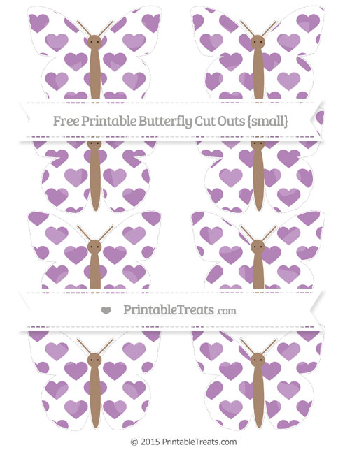 Free Pastel Light Plum Heart Pattern Small Butterfly Cut Outs