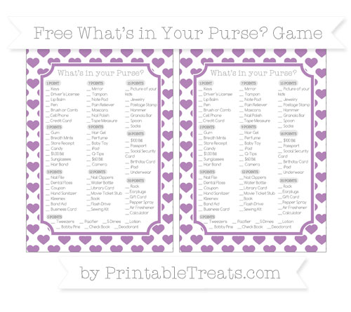 Free Pastel Light Plum Heart Pattern What's in Your Purse Baby Shower Game