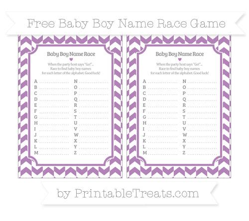 Free Pastel Light Plum Herringbone Pattern Baby Boy Name Race Game