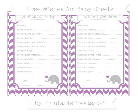 Free Pastel Light Plum Herringbone Pattern Baby Elephant Wishes for Baby Sheets