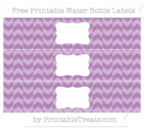 Free Pastel Light Plum Herringbone Pattern Water Bottle Labels