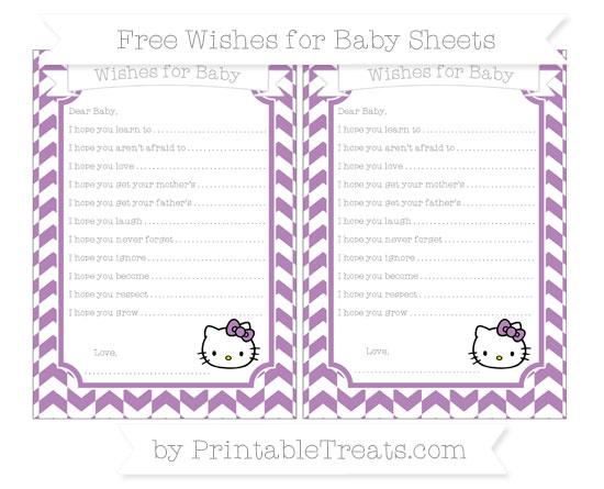 Free Pastel Light Plum Herringbone Pattern Hello Kitty Wishes for Baby Sheets