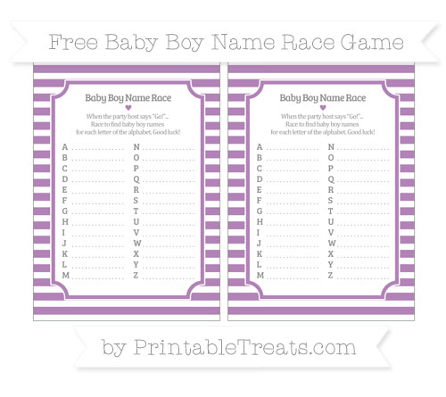 Free Pastel Light Plum Horizontal Striped Baby Boy Name Race Game