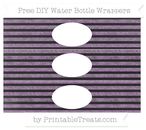 Free Pastel Light Plum Horizontal Striped Chalk Style DIY Water Bottle Wrappers