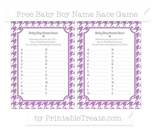 Free Pastel Light Plum Houndstooth Pattern Baby Boy Name Race Game