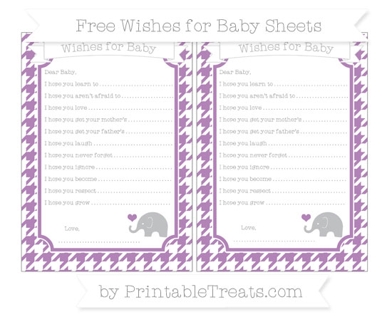 Free Pastel Light Plum Houndstooth Pattern Baby Elephant Wishes for Baby Sheets