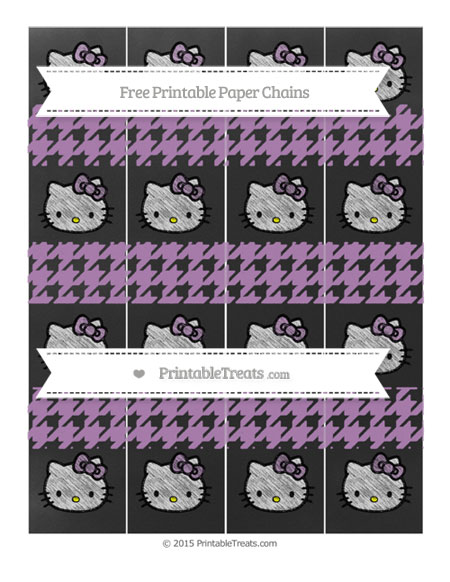 Free Pastel Light Plum Houndstooth Pattern Chalk Style Hello Kitty Paper Chains