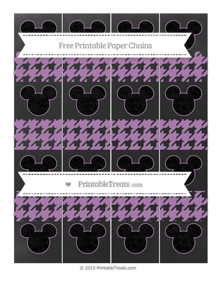 Free Pastel Light Plum Houndstooth Pattern Chalk Style Mickey Mouse Paper Chains