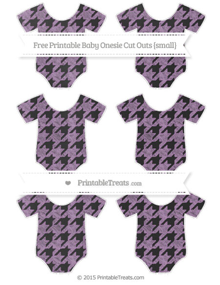Free Pastel Light Plum Houndstooth Pattern Chalk Style Small Baby Onesie Cut Outs