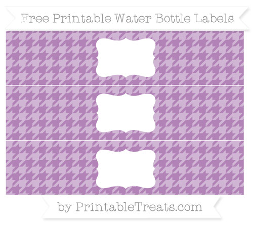 Free Pastel Light Plum Houndstooth Pattern Water Bottle Labels