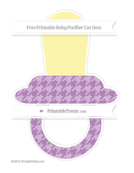 Free Pastel Light Plum Houndstooth Pattern Extra Large Baby Pacifier Cut Outs