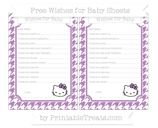 Free Pastel Light Plum Houndstooth Pattern Hello Kitty Wishes for Baby Sheets