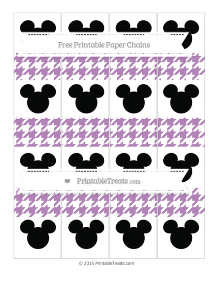 Free Pastel Light Plum Houndstooth Pattern Mickey Mouse Paper Chains