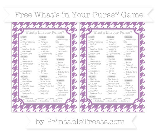 Free Pastel Light Plum Houndstooth Pattern What's in Your Purse Baby Shower Game