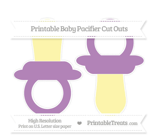 Free Pastel Light Plum Large Baby Pacifier Cut Outs
