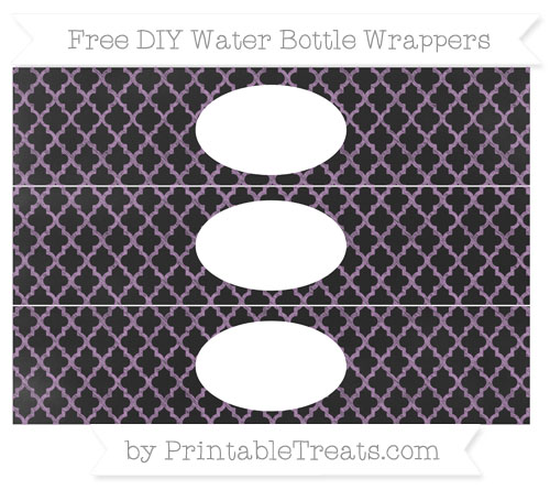 Free Pastel Light Plum Moroccan Tile Chalk Style DIY Water Bottle Wrappers