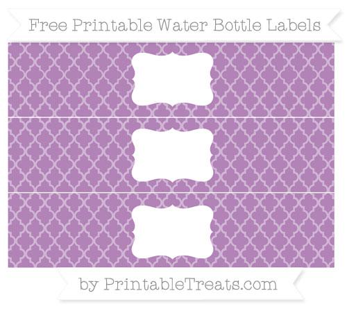 Free Pastel Light Plum Moroccan Tile Water Bottle Labels