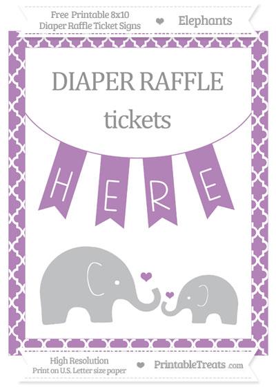 Free Pastel Light Plum Moroccan Tile Elephant 8x10 Diaper Raffle Ticket Sign
