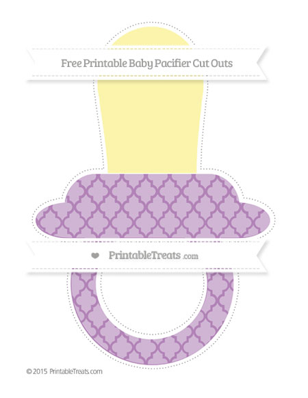 Free Pastel Light Plum Moroccan Tile Extra Large Baby Pacifier Cut Outs