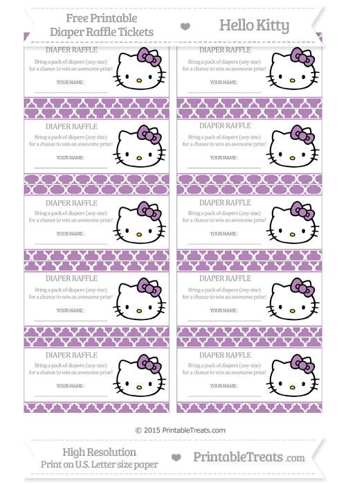 Free Pastel Light Plum Moroccan Tile Hello Kitty Diaper Raffle Tickets