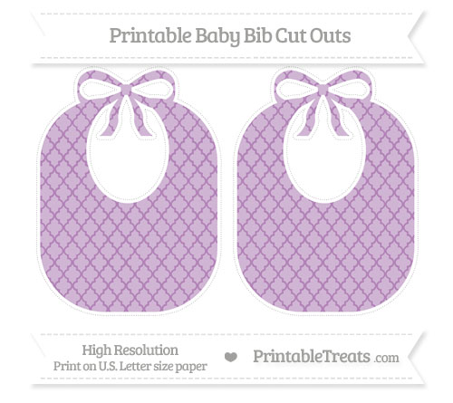 Free Pastel Light Plum Moroccan Tile Large Baby Bib Cut Outs