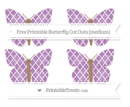 Free Pastel Light Plum Moroccan Tile Medium Butterfly Cut Outs
