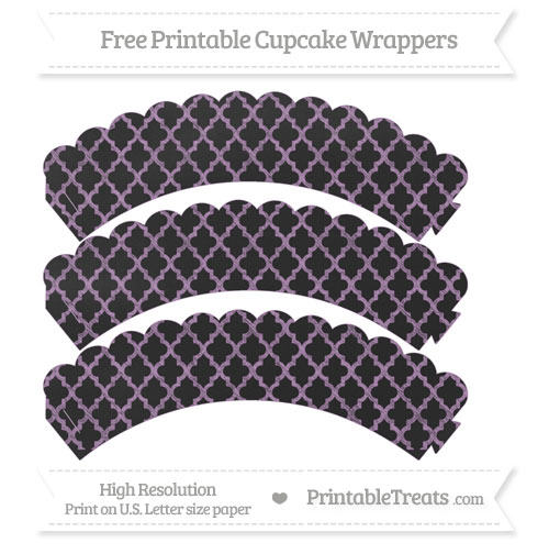 Free Pastel Light Plum Moroccan Tile Pattern Chalk Style Scalloped Cupcake Wrappers