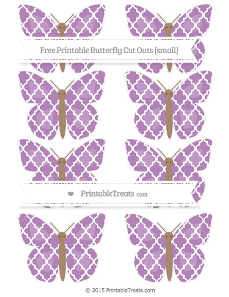 Free Pastel Light Plum Moroccan Tile Small Butterfly Cut Outs