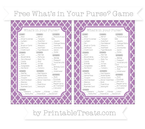 Free Pastel Light Plum Moroccan Tile What's in Your Purse Baby Shower Game