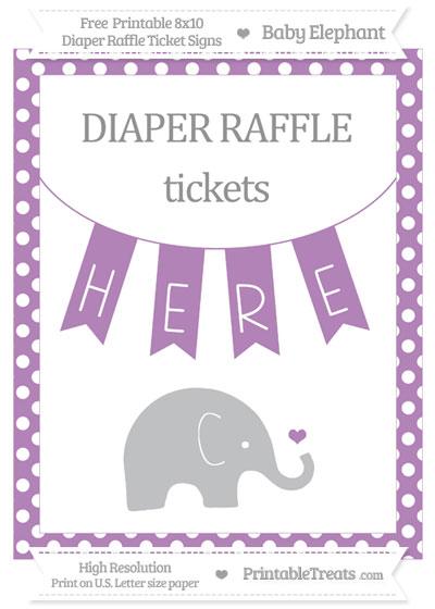 Free Pastel Light Plum Polka Dot Baby Elephant 8x10 Diaper Raffle Ticket Sign