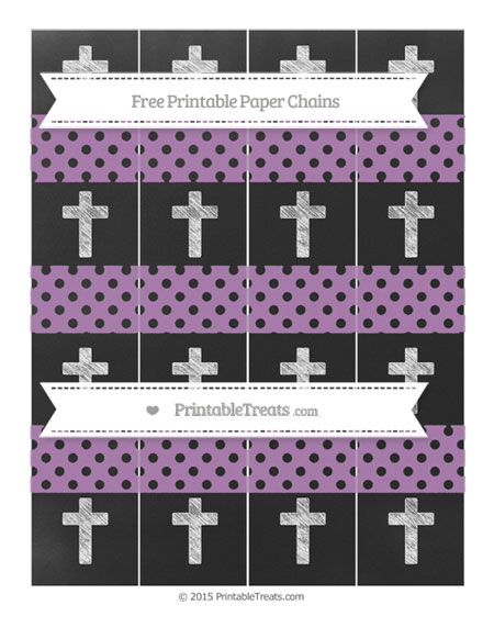 Free Pastel Light Plum Polka Dot Chalk Style Cross Paper Chains
