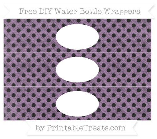 Free Pastel Light Plum Polka Dot Chalk Style DIY Water Bottle Wrappers
