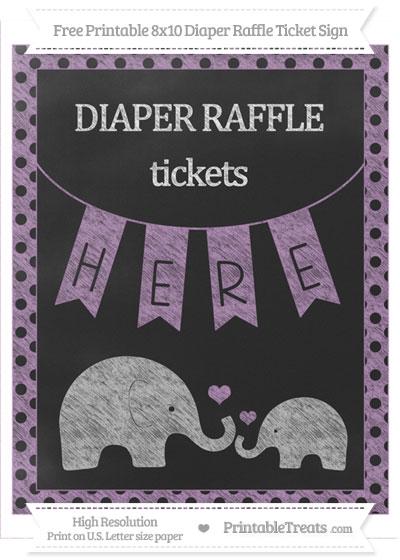 Free Pastel Light Plum Polka Dot Chalk Style Elephant 8x10 Diaper Raffle Ticket Sign